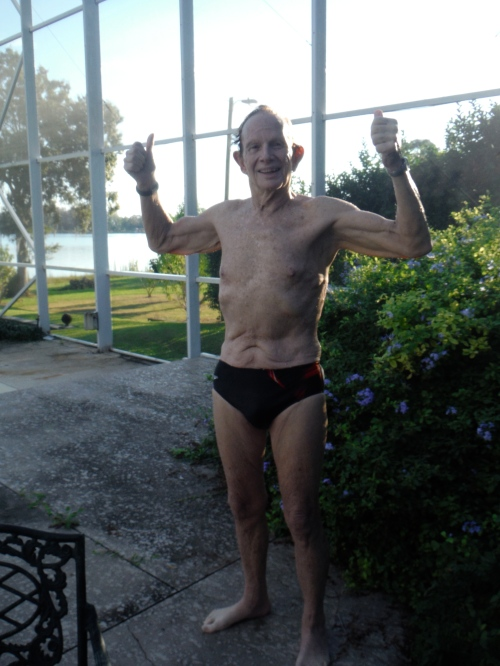 Gene wasted no time in setting the men's 80-84 record in is first swim back after finishing his chemotherapy.