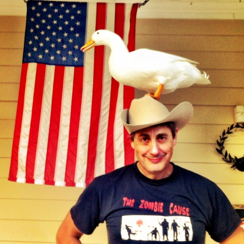 Duck is now officially in the 100K club thanks to Mi Hoshino letting duck swim with her.  Duck insisted on an all-american photo with a brass band and fireworks to commemorate his making the crossing.  This was the best we could do. He was mad so he pooped on me but missed the hat.