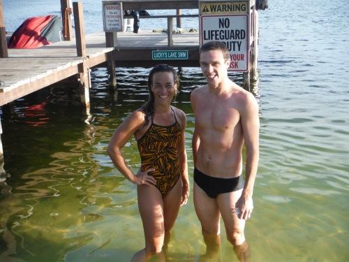 New lake swim record breakers.  Alisa Novashinski set the 35-39 women's record in 15:09 and Brett Jones set the men's 25-29 record with a 14:31.