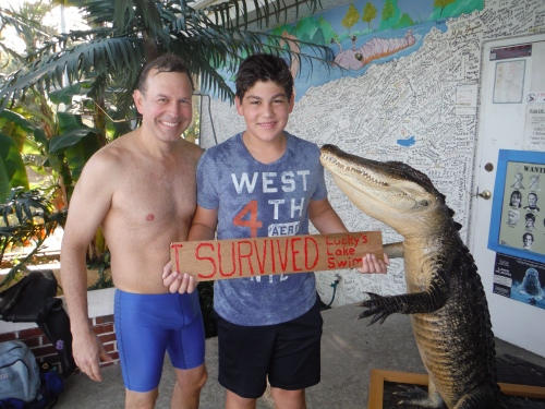 Sebastian made it across the lake to day (Shown with his dad Raul) Sebastian and Raul both play underwater hockey and you could too.  PLEASE CHECK OUT OUR BLOG and come join us underwater wed - fri at 7:15pm at the YMCA Aquatic Center.