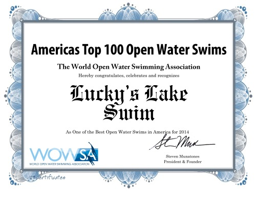 The World Open Water Swimming Association has listed Lucky's Lake Swim as one of the top 100 open water swims in America.  Wooo! Hooo!