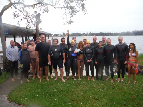 Two dozen hard-core swimmers (or very silly people - you decide) swam into the new year.
